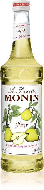 Monin Classic Flavored Syrups - 750 ml. Glass Bottle: Pear