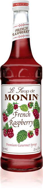 Monin Classic Flavored Syrups - 750 ml. Glass Bottle: Raspberry, French