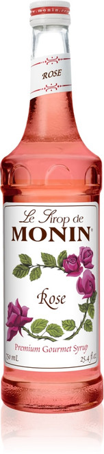 Monin Classic Flavored Syrups - 750 ml. Glass Bottle: Rose