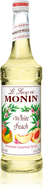 Monin Classic Flavored Syrups - 750 ml. Glass Bottle: White Peach