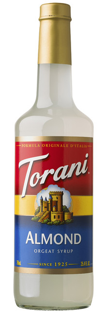 Torani Classic Flavored Syrups - 750 ml Glass Bottle: Almond
