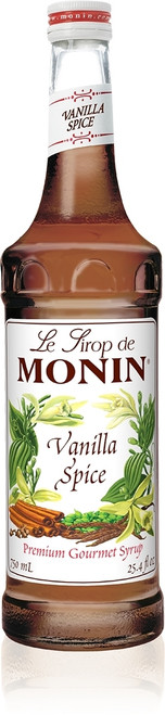 Monin Classic Flavored Syrups - 750 ml. Glass Bottle: Vanilla Spice