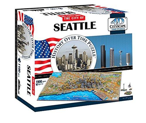 Seattle - 1,100pc 4D Cityscape Educational Jigsaw Puzzle