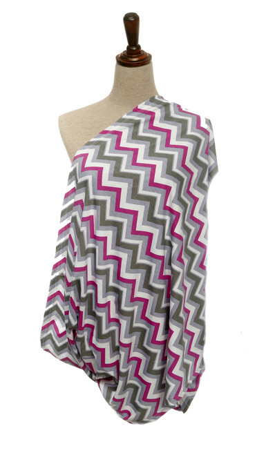Infinity Nursing Scarf, Chevron Purple/Grey/White by nGenius