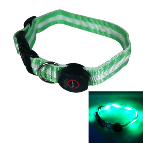"Glow in the Dark LED Dog Collar, 13"" - 20"" length, 1"" width, Green"