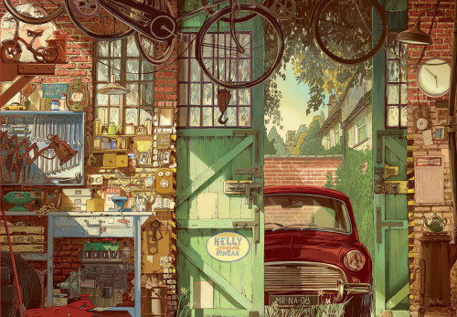 Old Garage, Arly Jones - 1500pc Jigsaw Puzzle by Educa