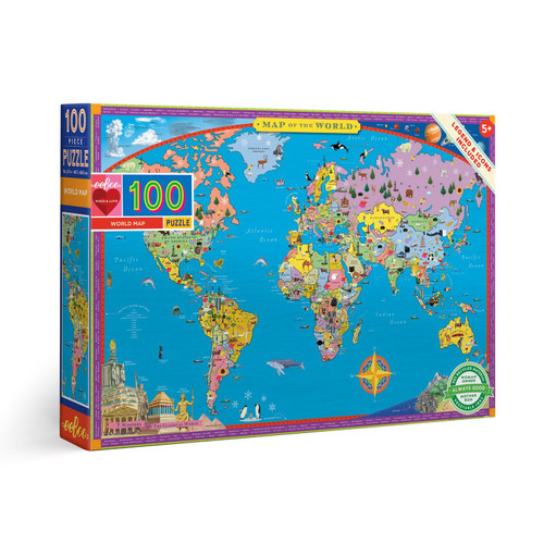 World Map - 100pc Jigsaw Puzzle by eeBoo
