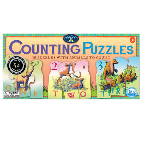 Animal Counting - 10 x 3pc Multipack Jigsaw Puzzle by eeBoo