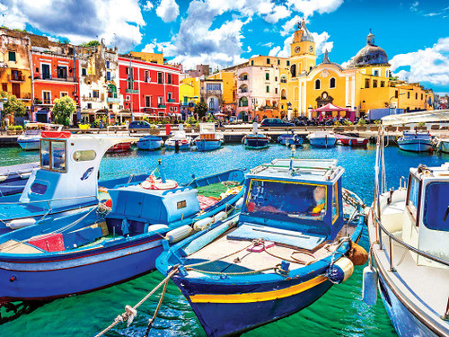 Colorful Procida Island and Boats, Italy - 550pc Jigsaw Puzzle by Lafayette Puzzle Factory