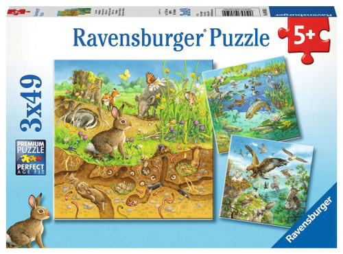 Animals in their Habitats - 3x49pc Multipack Jigsaw Puzzle By Ravensburger