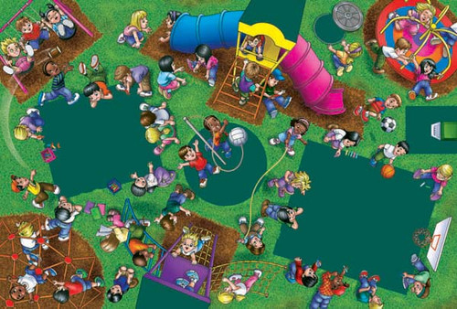 Playground Fun - 48pc Crayola Chalkboard Floor Puzzle by Lafayette Puzzle Factory
