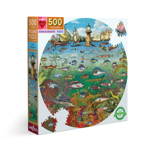 Fish & Boats - 500pc Round Jigsaw Puzzle by eeBoo