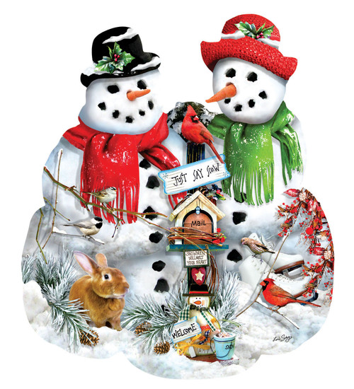 Snow Family - 1000pc Shaped Jigsaw Puzzle By Sunsout