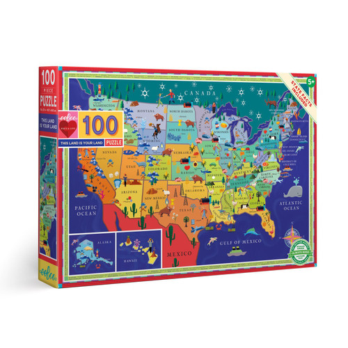 This Land Is Your Land - 100pc Jigsaw Puzzle Map by eeBoo