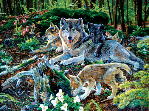 Forest Wolf Family - 500pc Jigsaw Puzzle By Sunsout