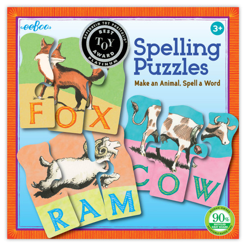 Animal Spelling Puzzles - 10 x 3pc Multipack Jigsaw Puzzle by eeBoo