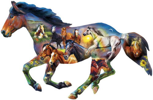 Contours: Horsing Around - 1000pc Shaped Puzzle by Masterpieces