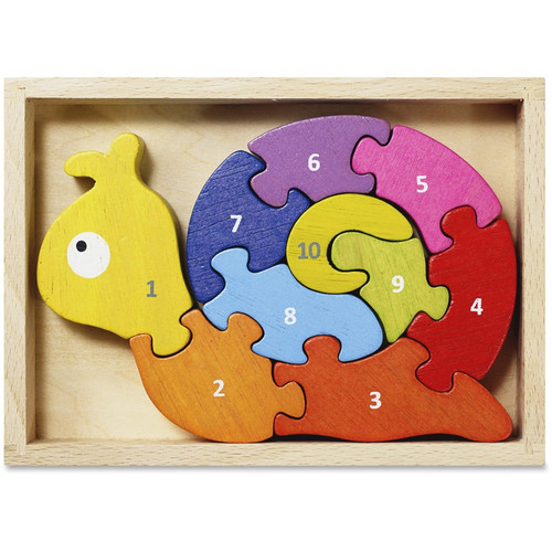 Number Snail - EcoFriendly Wooden Puzzle  by BeginAgain