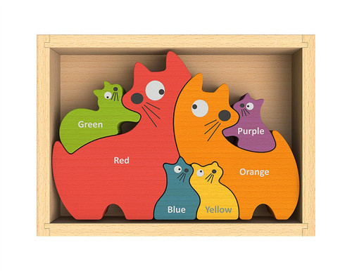 Cat Family - EcoFriendly Wooden Puzzle