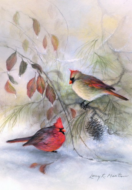 Winter Rest Cardinals - Garden Flag by Toland