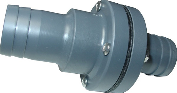 """Fly High Fat Sac Fitting W755 - 1 1/8"""" Barbed Check Valve"""