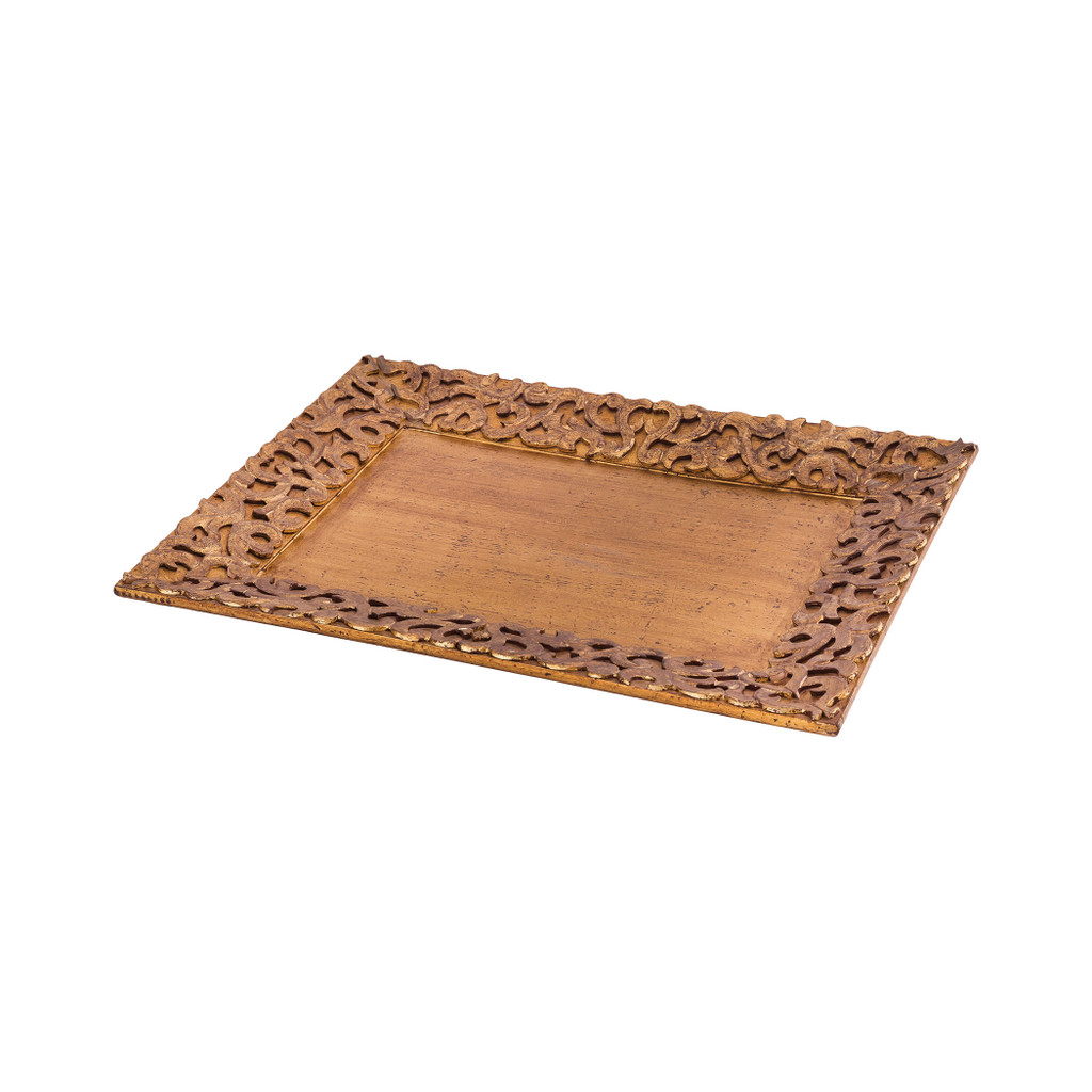 Mango Wood Carved Tray in Antique Gold Finish