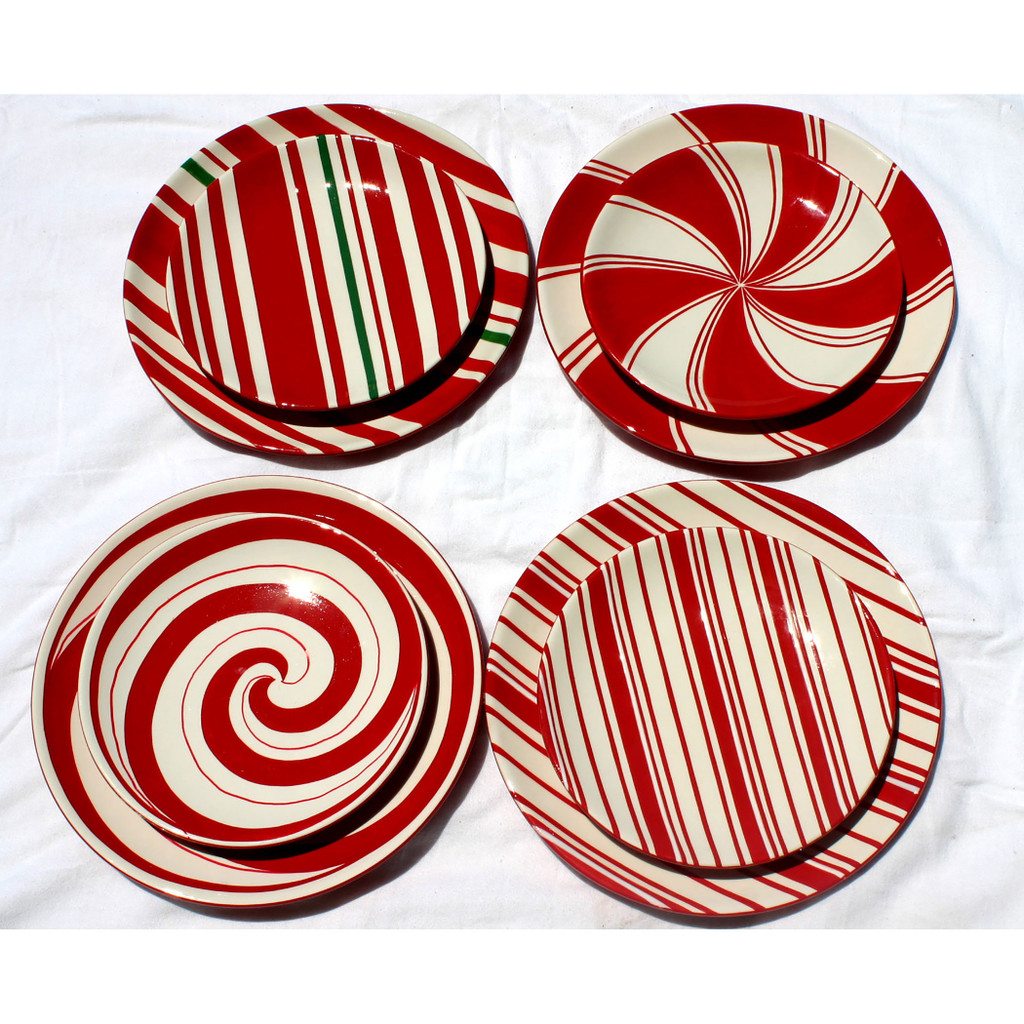 Candy Cane Style Plates (Set of 4)