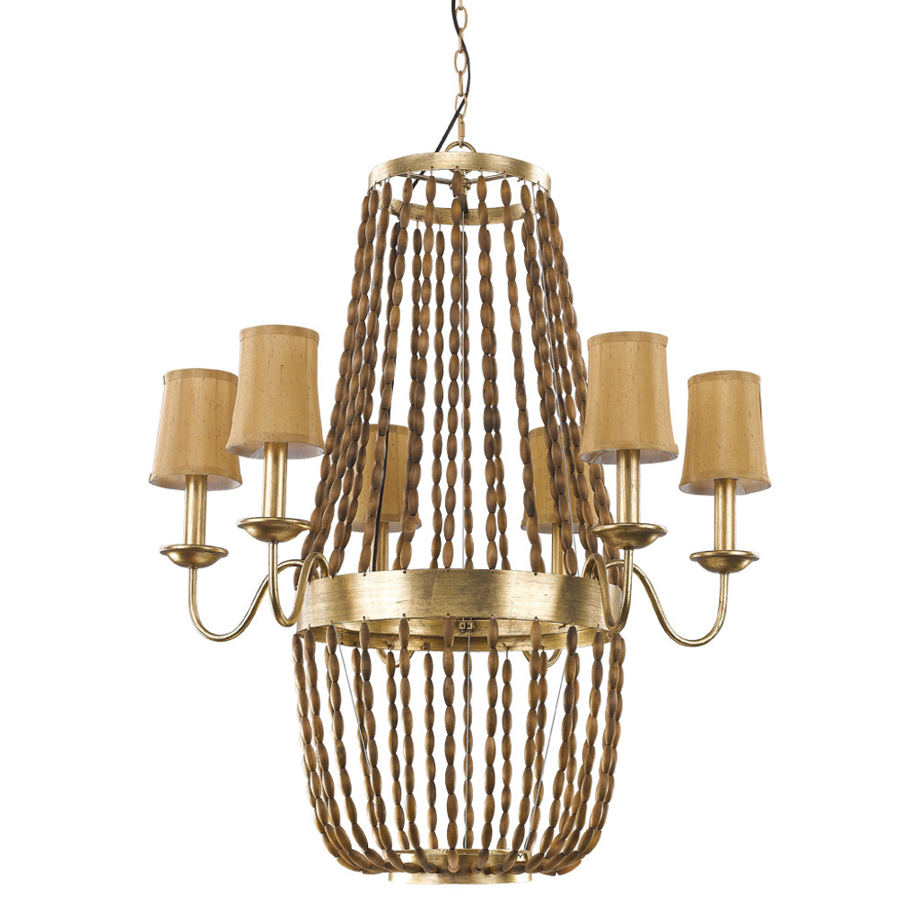 Anastasia 12-Light Antique Gold Leaf Chandelier With Wooden Beaded Chains And Gold Fabric Shades