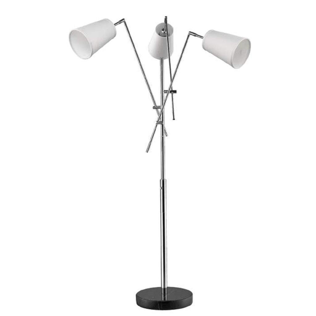Cerberus 3-Light Polished Chrome Adjustable Arm Floor Lamp With Coarse Cream Linen Shades