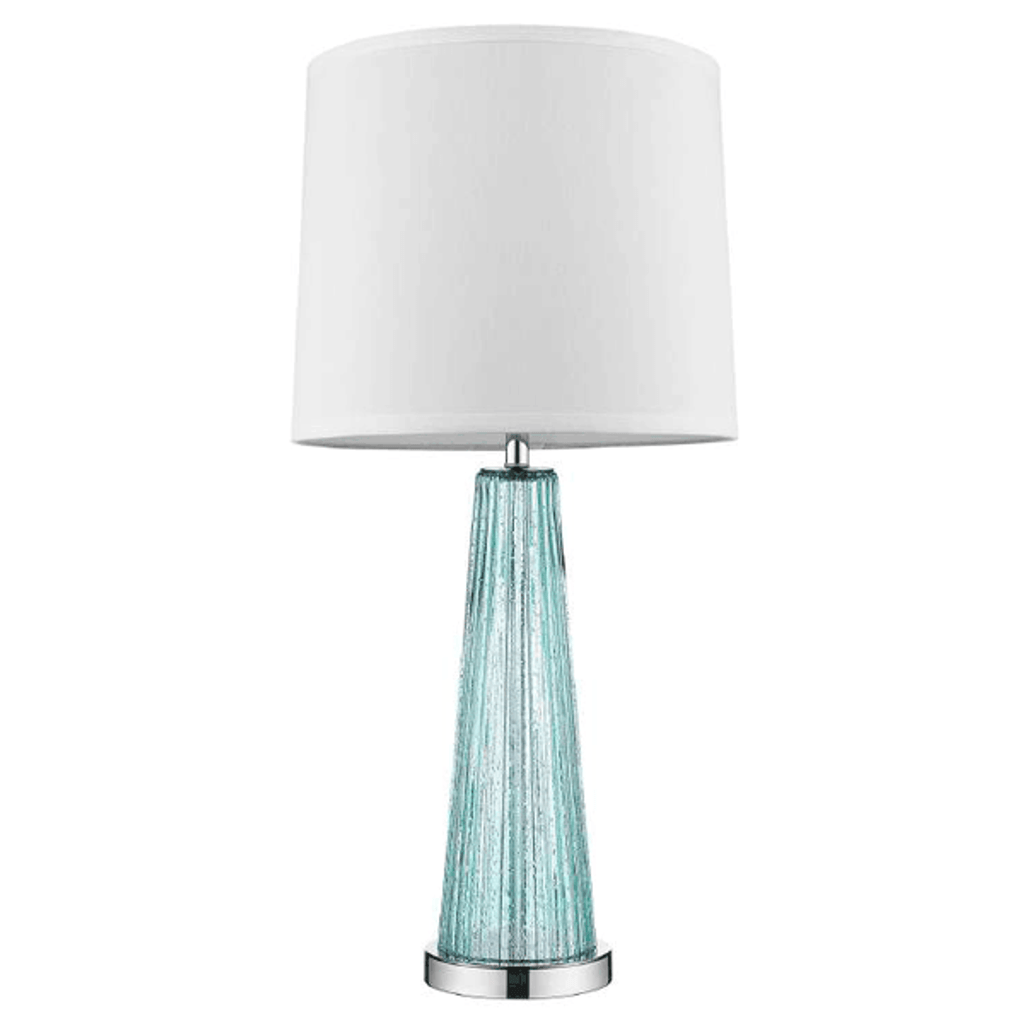 Chiara 1-Light Seafoam Glass And Polished Chrome Table Lamp With Off-White Shantung Shade