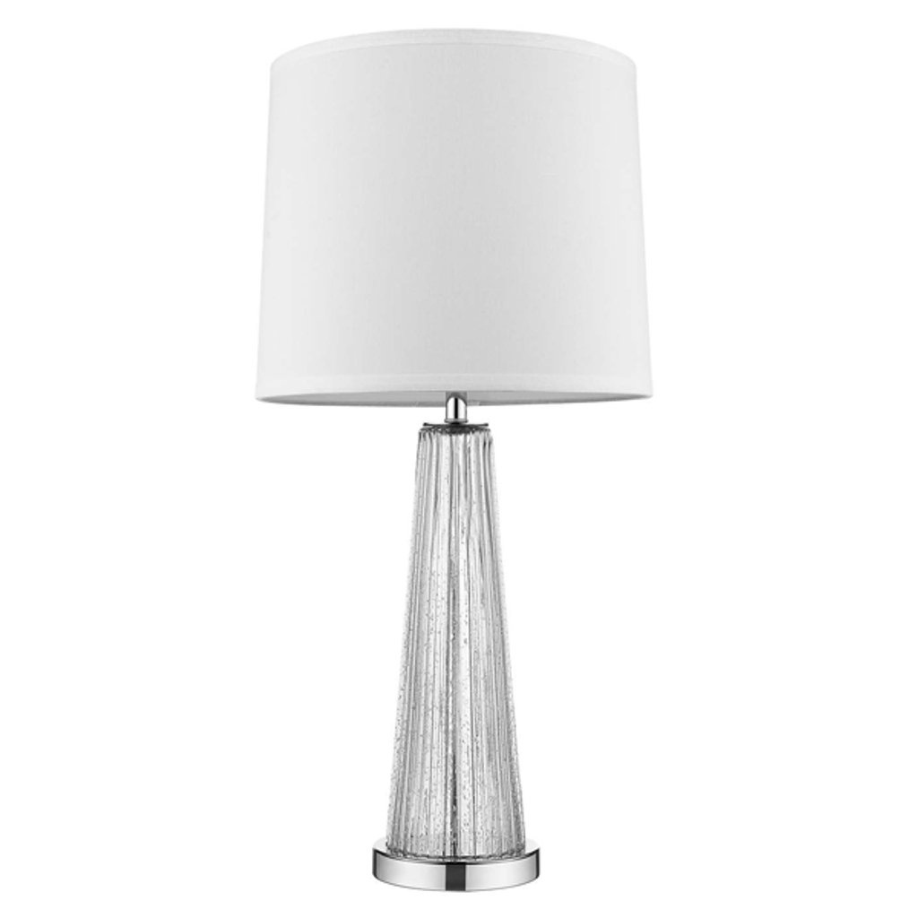 Chiara 1-Light Clear Glass And Polished Chrome Table Lamp With Off-White Shantung Shade