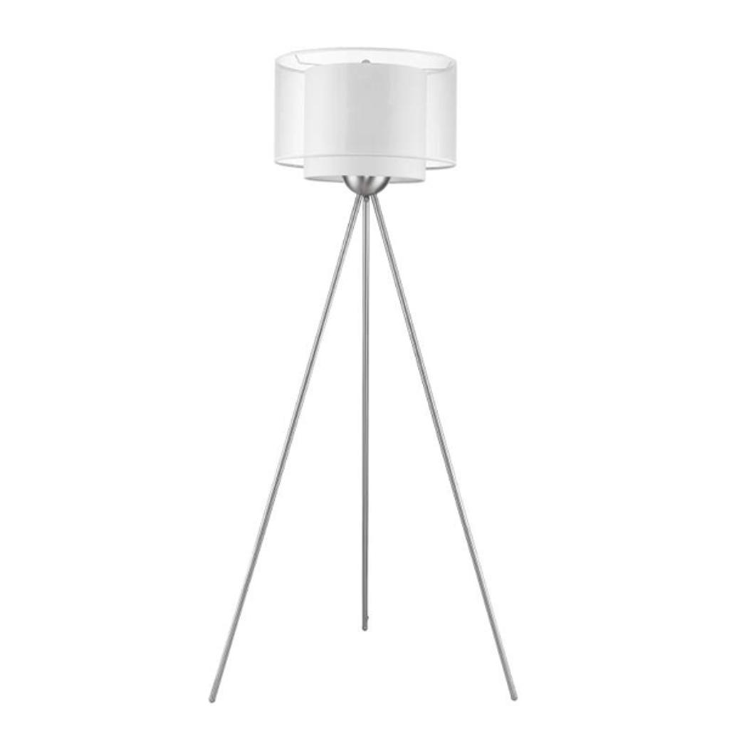 Brella 1-Light Brushed Nickel Tripod Floor Lamp With Sheer Snow Shantung Two Tier Shade