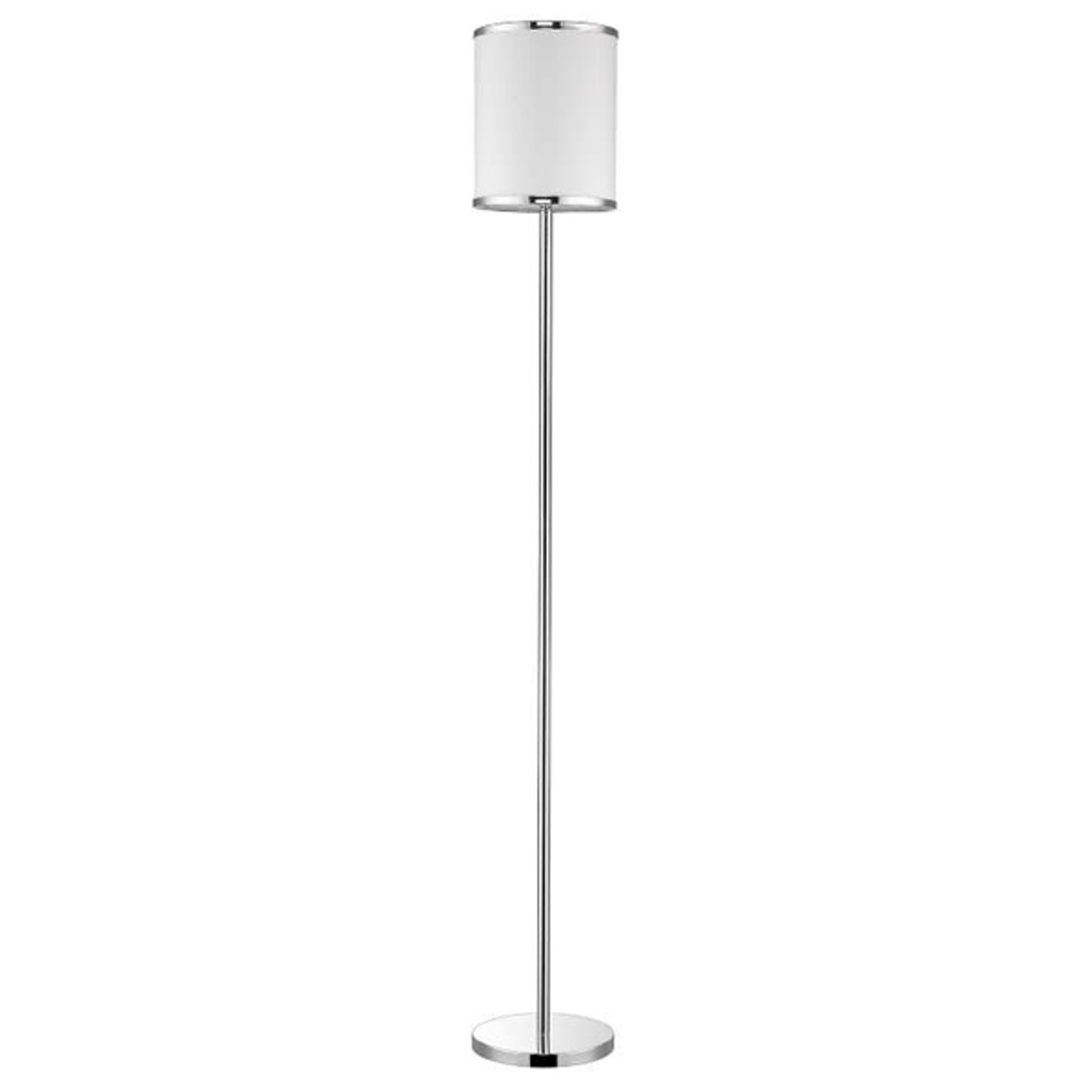 Lux II 1-Light Polished Chrome Floor Lamp With Metal Trimmed Off-White Shantung Shade