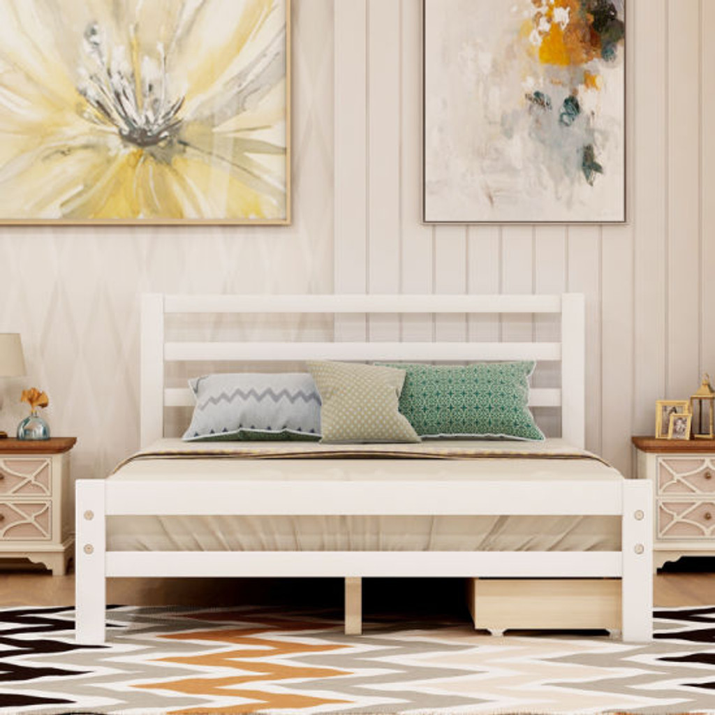 Full Size Bed Frame with Storage,Bed Frame with Drawers Full Size,500lb Heavy Duty Solid Wood Platform Bed with Headboard/Wood Slat Support/No Box Spring Needed/Easy Assembly (White,Full) RT(D0102HECUKW.)