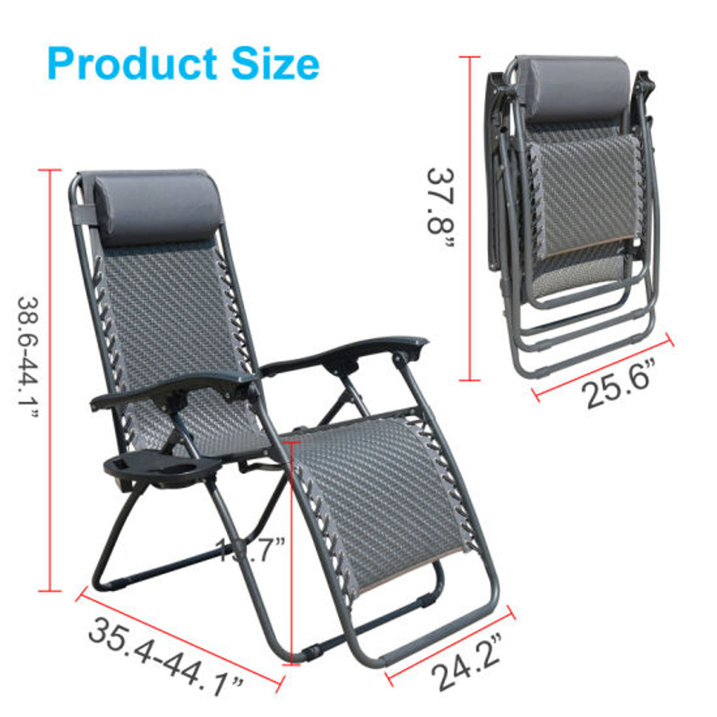 Outdoor Recliner Adjustable Folding Patio Lounge Chair