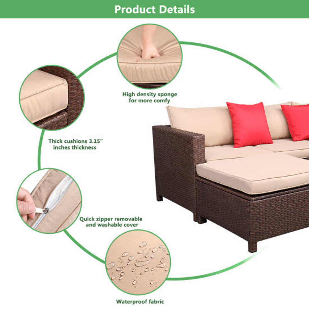 Outdoor 5-Piece Set patio furniture Sectional Sofa Sets All Weather Rattan Manual Wicker Set with Cushions and Table