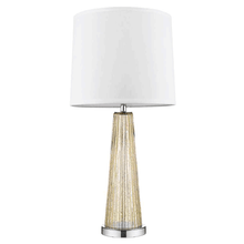 Chiara 1-Light Champagne Glass And Polished Chrome Table Lamp With Off-White Shantung Shade