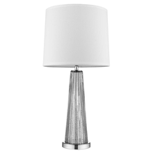 Chiara 1-Light Steel Glass And Polished Chrome Table Lamp With Off-White Shantung Shade