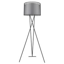 Trition 1-Light Matte Black Tripod Floor Lamp With Smoke Gray Shantung Double Shade