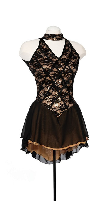 Gold Sequin Couture Skating Dress