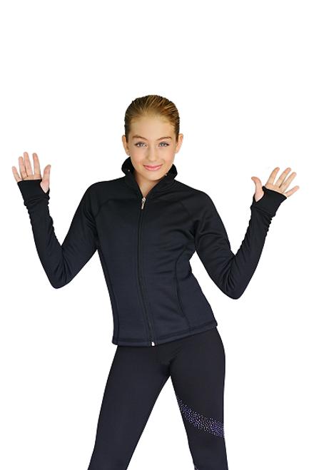 Raglan Sleeves Fitted Skating Jacket with Thumb Holes