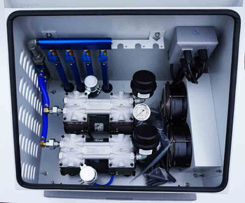 Aeration cabinet with dual compressors