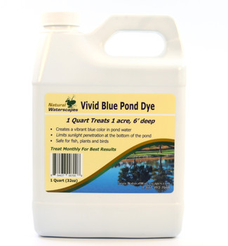 Bright blue pond dye liquid concentrate