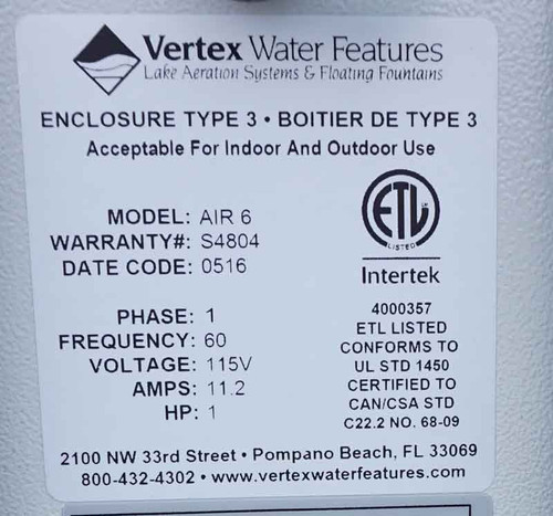 Air6 Aerator electrical specifications