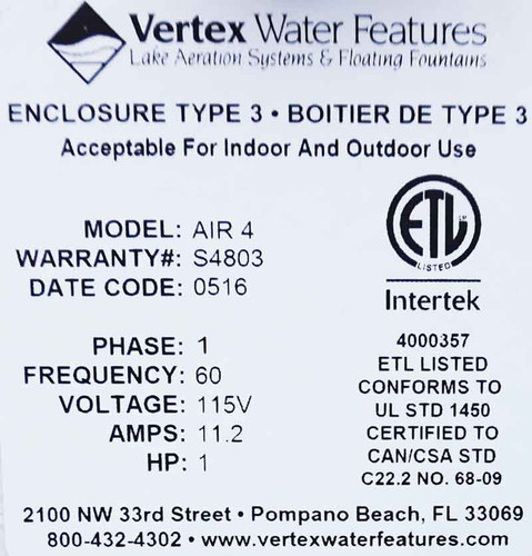 Aeration Specifications Air4