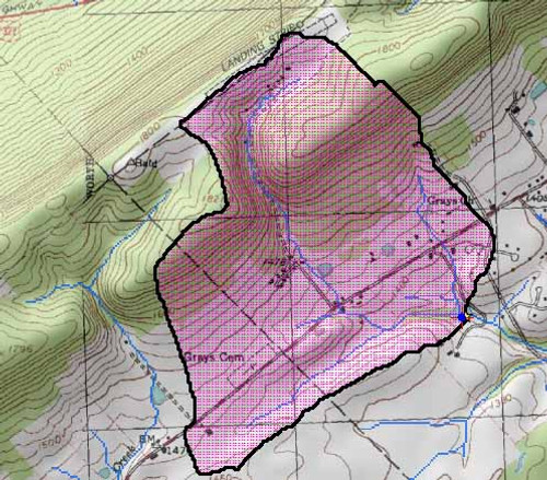 Sample pond contributing watershed map
