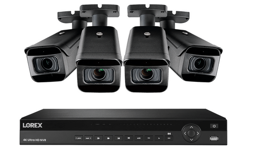 4K Nocturnal IP NVR System featuring Four 4K (8MP) Real-time 30FPS Cameras with 4x Optical Zoom, Color Night Vision and Listen-In Audio