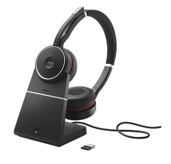 Jabra 75 Evolve MS Stereo Wireless Headset w/ Charging Stand