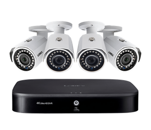 2K Super HD 8-Channel Security System with Four 2K (5MP) Cameras, Advanced Motion Detection and Smart Home Voice Control
