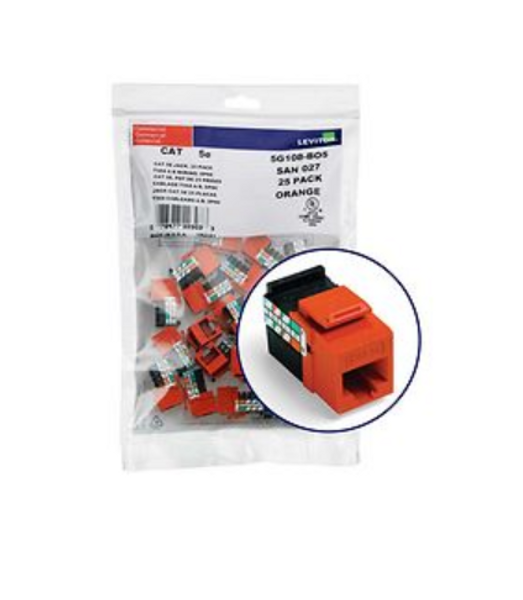Leviton Cat 5e Jack Orange 25-Pack